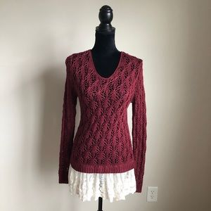 Altar'd State Momentary Bliss Maroon Knit Sweater
